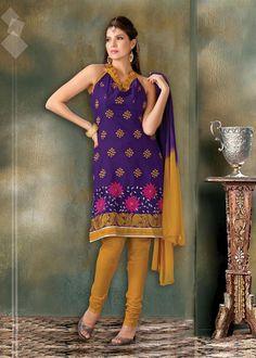 $32.15 Blue Embroidered Cotton Churidar Salwar Kameez 23329
