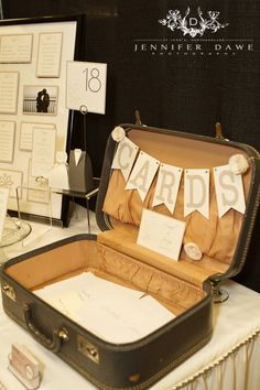 Vintage Cards Suitcase inspired by Pinterest, created by The Paperie in Newfoundland for a Wedding Show display.