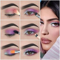 Kylie Jenner Augen Make-up Tutorial! - Make-up Makeup Eye Looks, Eye Makeup Steps, Purple Makeup Looks, Colorful Eye Makeup, Simple Eye Makeup, Kylie Jenner Eyes, Kylie Jenner Makeup Tutorial, Kylie Makeup, Kylie Jenner Makeup Step By Step