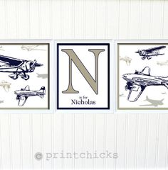Pottery Barn Airplane Inspired Prints- Nursery or Toddler Room Decor - Boys Room -Personalized Vintage Airplane Print Set - 8 x 10 on Etsy, $42.00