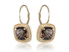 Delicate Smokey Topaz And Diamond Drop Earrings Sapphire And Diamond Earrings, Smokey Topaz, Fine Jewelry, Jewellery, Stone Rings, Round Diamonds, Delicate, Jewels, Gemstones