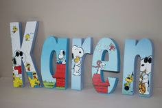 Snoopy Woodstock Free Standing Custom Wood Letters by Bubzies on Etsy, $11.00 Www.facebook.com/bubziespage