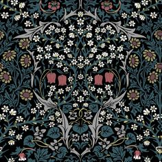 As part of the House of Hackney x William Morris collection, the 'Hyacinth' print is reimagined and remastered. The Art Nouveau design features plant formations block-printed onto paper - a William Morris signature. William Morris Wallpaper, Morris Wallpapers, Motifs Art Nouveau, Art Nouveau Design, Luxury Wallpaper, Dark Wallpaper, Velvet Wallpaper, Art Nouveau Wallpaper, William Morris Patterns