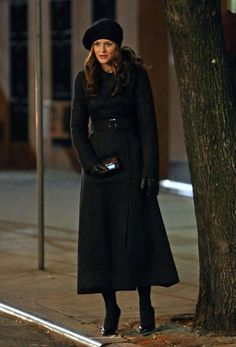 "Chuck: ""Blair. I see you're wearing your beret. Who are we spying on tonight?"" One of the funniest moments in Gossip Girl. The chic full-length coat makes Blair a stylish spy."