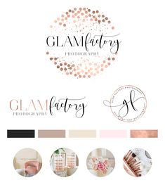 Watercolor Logo Design, Custom Logo Design, Rose gold Branding kit Logo Design Premade Branding Package, stamp, Photography Logo, watermark by PeachCreme on Etsy