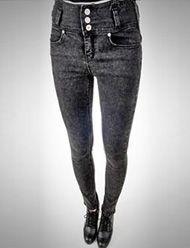 Modern High-Rise Three-Buckle Skinny Jeans