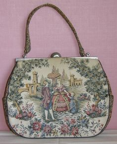 VINTAGE TAPESTRY PURSE LA MARQUISE VICTORIAN FAMILY HANDERS ITALY WALLET MIRROR #LAMARQUISE #Clutch 50$