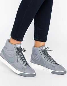 newest 7e809 b3844 Shop Nike Blazer Premium Trainers In Grey at ASOS.