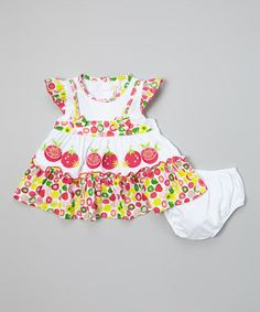 Look what I found on #zulily! Hot Pink & White Fruit Dress & Diaper Cover - Infant by Lele for Kids #zulilyfinds