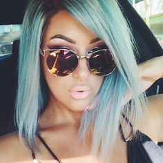 I'm wearing MAC Myth lipstick with Spice liner - I love chrisspy so much Mac Myth Lipstick, Hair Inspo, Hair Inspiration, Photoshoot Inspiration, Light Blue Hair, Pastel Hair, Dream Hair, About Hair, Hair Dos