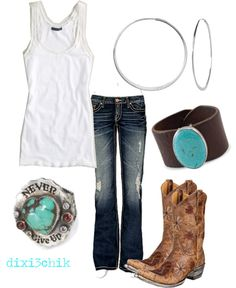 White tank, turquoise, jeans and boots... a perfect combo!
