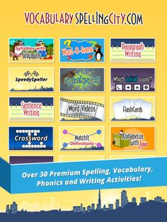 SpellingCity - excellent free iOS app for playing Vocabulary/Spelling games Spelling Games, Initial Sounds, Ipads, Writing Activities, Ios App, Phonics, Strands, Sentences, Vocabulary