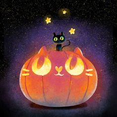 halloween cat and pumpkin art Kawaii Halloween, Halloween Art, Halloween Pumpkins, Cute Halloween Drawings, Halloween Witches, Happy Halloween, Halloween Decorations, Halloween Illustration, Illustration Art