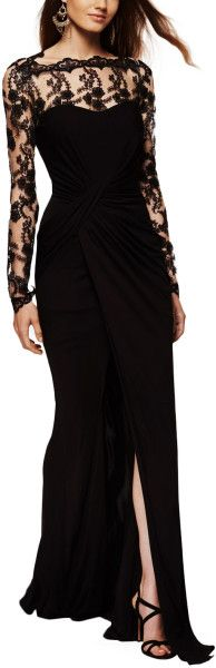 David Meister Lace Contrast Gown - Lyst