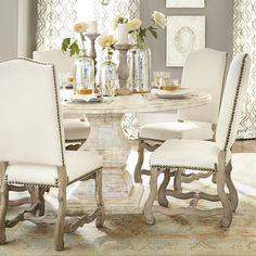 Dining table & chairs, all of the wood elements are amazing