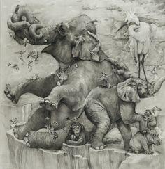 Adonna Khare. Art. Illustration. Pencil Drawing. Animals. Elephants. Monkeys. Stork. www.origin-of-style.com