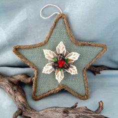 Burlap Beach Star Coastal Christmas decor ornament in sage green