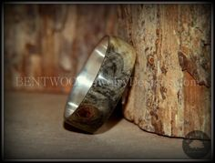 """Bentwood Ring - Buckeye Burl """"Midwest"""" Wood Ring Silver Core Ring - Bentwood Jewelry Designs - Custom Handcrafted Bentwood Wood Rings"""