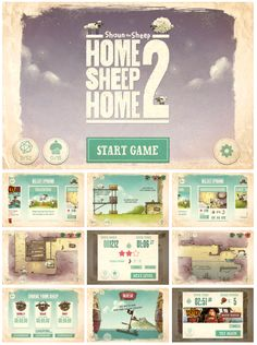 mobile game screen designs for shaun the sheep Game Ui Design, Ios Design, Jelly Games, Mobile Game Development, 2d Game Art, Game Gui, Game Interface, Game Title, Event Banner