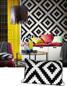 IKEA LAPPLJUNG RUTA Cushion Cover, Black / White NEW #IKEA