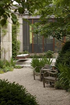 Landscaping with gravel green grass