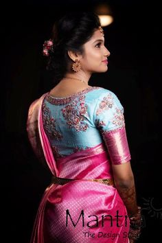 The happier you are the more beautiful you become ! Gorgeous pink color designer saree and powder blue color blouse with hand embroidery work. For appointments call on 28 September 2019 Wedding Saree Blouse Designs, Pattu Saree Blouse Designs, Fancy Blouse Designs, Dress Designs, Gold Designs, Designer Silk Sarees, Designer Dresses, Indian Bridal Sarees, Bridal Silk Saree