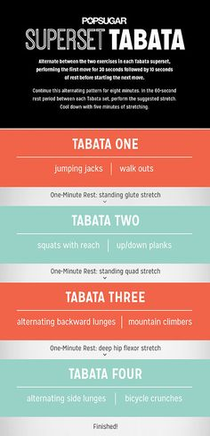 Alternate between the two exercises in each Tabata superset, performing the first move for 30 seconds followed by 10 seconds of rest before starting the next move.