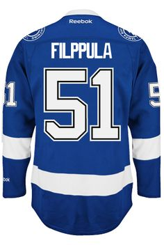 Tampa Bay Lightning Valtteri FILPPULA #51 Official Home Reebok Premier Replica NHL Hockey Jersey (HAND SEWN CUSTOMIZATION)