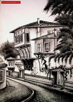 40 Mind Pausing Ideas of Urban Sketching for Beginners – Art Drawing Tips Landscape Pencil Drawings, Pencil Sketch Drawing, Landscape Sketch, Pencil Art Drawings, Art Drawings Sketches, Perspective Drawing Lessons, House Sketch, Urban Sketching, Pen Art