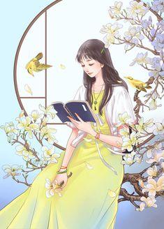 中国风女孩   麦冬子 - 原创作品 - 涂鸦王国插画 Cartoon Girl Images, Cute Cartoon Girl, Anime Girl Cute, Kawaii Anime Girl, Anime Art Girl, Cartoon Art, Beautiful Girl Drawing, Cute Girl Drawing, Beautiful Fantasy Art