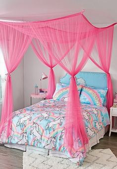 Inspire & create - Give her room a boost with Justice's girls' bedroom decor. Our bedroom furniture, bedding sets, & accessories are the perfect additions to make her space her own. Unicorn Room Decor, Unicorn Rooms, Unicorn Bedroom, Girl Bedroom Designs, Girls Bedroom, Bedroom Stuff, Trendy Bedroom, Bedroom Bed, Diy Room Decor