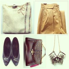 Vintage knit, vintage leather chinos, vintage suede stilettos, vintage leather bag, Wahnsinne leather necklace. All awailable in Beware of Limbo Dancers... find us on Facebook.