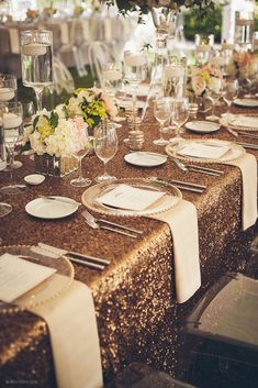 La Tavola Linen | Copper Sequin Linen - possibly for the head table for wedding reception