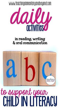 Daily tips for parents to support your childs literacy skills in reading, writing and oral communciation. Basic ideas which are easily incorporated into your daily life included!