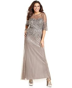 Adrianna Papell Plus Size Dress, Elbow-Sleeve Beaded Gown - Plus Size Dresses - Plus Sizes - Macys