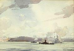 Harold Brocklebank Herbert (1892 — 1945, Australia) Sydney Harbour.  watercolour. 23.5 x 33.5 cm.