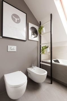 Modern Attic Bathroom With Grey Walls And Mounted Bidet With Toilet : Adding An Attic Bathroom In Your House