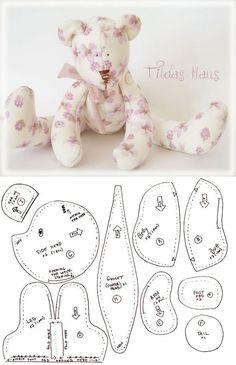 #moldes de oso peluche #bear #patterns