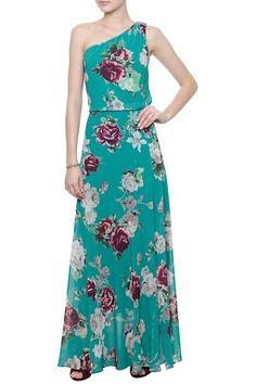 Vestido Crepe Cherry Blosson Verde - Amissima