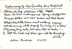 Returning to the Country for a Brief Visit, Ginsberg