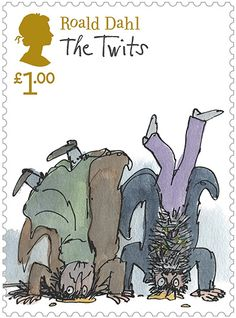 Roald Dahl: The Twits stamp. Probably the best Dahl ever wrote. Roald Dahl The Twits, Roald Dahl Stories, Royal Mail Stamps, Uk Stamps, Charley Harper, Quentin Blake Illustrations, Book Illustrations, Poster Art, Postage Stamp Art