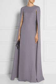Silk-cady cape gown