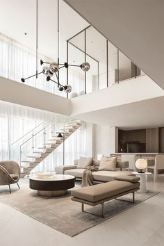 High Ceiling Living Room, Living Room Modern, Living Spaces, Luxury Home Decor, Luxury Interior, Home Interior Design, Minimalist Interior, Minimalist Home, Living Room Lighting Design