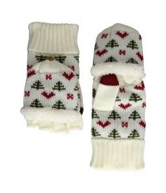 San Diego Hat Company KNG3475 Tree And Hearts Pop Over Gloves (Ivory) Extreme Cold Weather Gloves