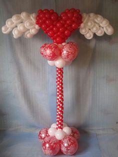 Heart Angel Balloon Pillar