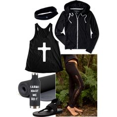 Health Goth Yoga by blackbettyblog on Polyvore featuring Aéropostale, Skechers, prAna and Manduka