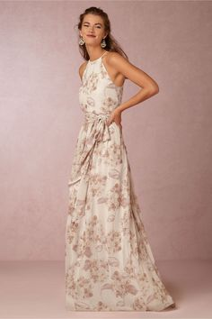floral print bridesmaids dress | Alana Dress in dusty pink by Donna Morgan for BHLDN