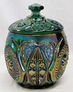 Sweetheart~Sweetheart is a very scarce pattern known only in this cracker jar in green and marigold, Cambridge Glass Company