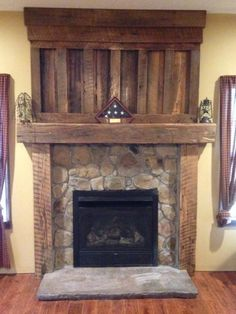 Rustic wood fireplace wall fireplace mantel fireplace surround kit cabin wood mantle home decorations for living . Rustic Fireplaces, Wood Fireplace, Barn Wood, Wood Fireplace Mantel, Farmhouse Fireplace, Wood Fireplace Surrounds, Fireplace Shelves, Fireplace, Reclaimed Barn Wood