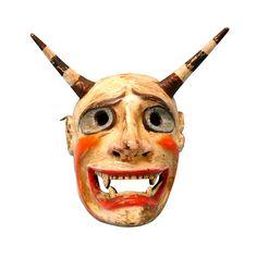 Peruvian Andes Wooden Ceremonial Dance Mask of a Devil, Demon, Diablo,
